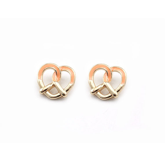 [2 PC] Heart Pretzel earring - peach