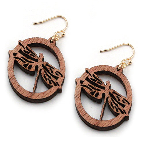 WOODEN DRAGONFLY EARRING