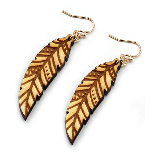 WOODEN FEATHER EARRING
