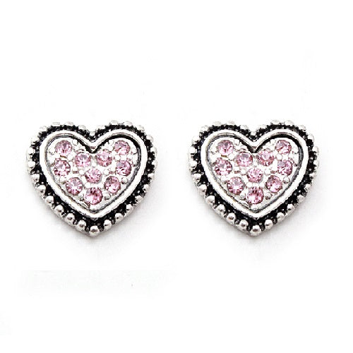 Pave Heart earring - pink
