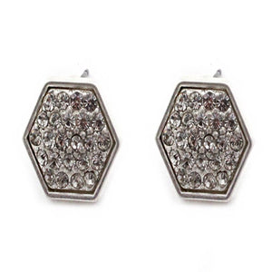 HEXAGON PAVE EARRING - SILVER CLEAR
