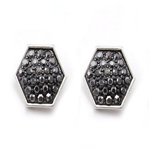 HEXAGON PAVE EARRING - SILVER HEMATITE