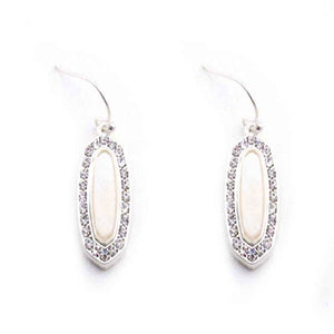 SHELL & PAVE EARRING - SILVER CLEAR