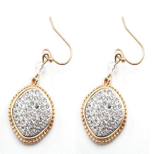 GEOMETRIC PAVE EARRING - GOLD CLEAR