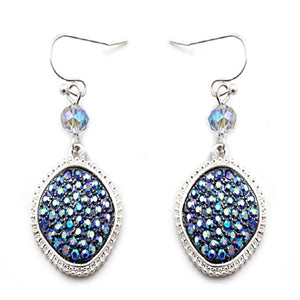 GEOMETRIC PAVE EARRING - BLUE