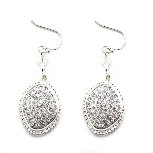 GEOMETRIC PAVE EARRING - SILVER CLEAR