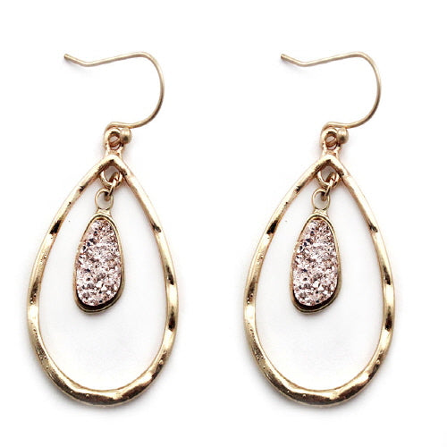 TEAR DROP & DRUZY EARRING - GOLD