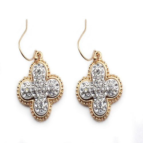 CLOVER PAVE EARRING - GOLD & CLEAR - Pink Vanilla