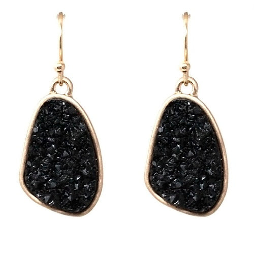 Nugget Druzy earring - black