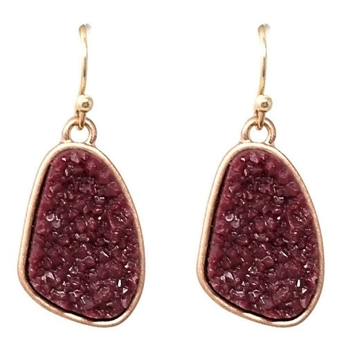 Nugget Druzy earring - burgundy