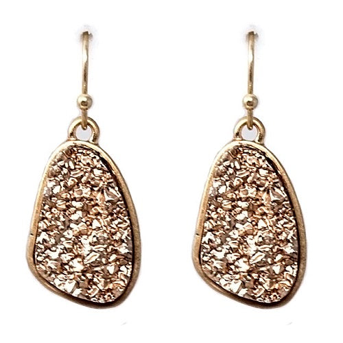 Nugget Druzy earring -  rose gold