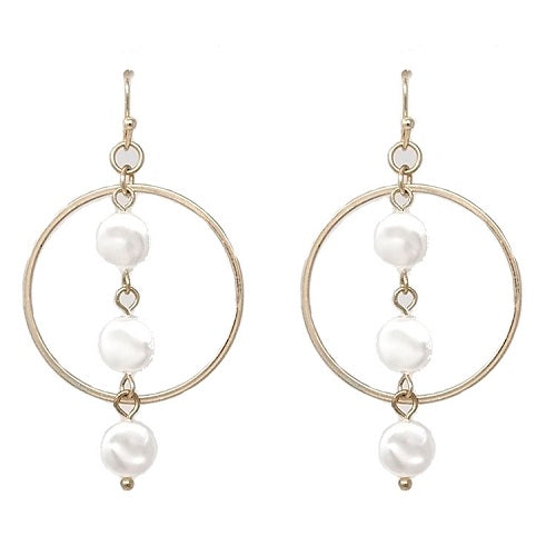 Hoop w/ coin pearl earring - gold