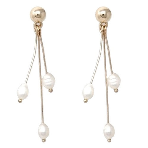 Fresh water pearl earring - gold