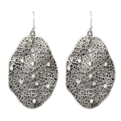 GEOMETRIC EARRING - BURNISH SILVER