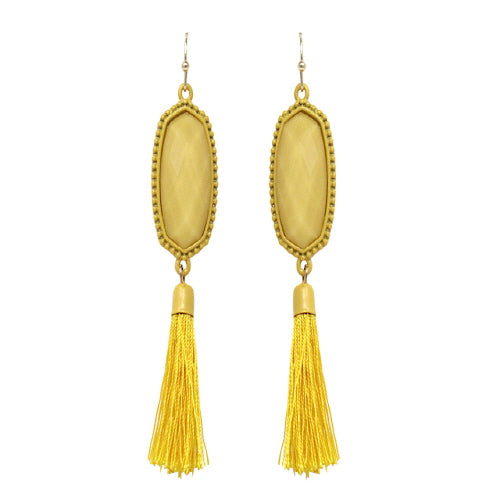 GEOMETRIC W/ TASSEL EARRING - YELLOW