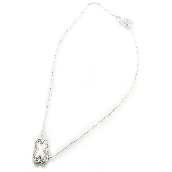 SILVER CLOVER NECKLACE SET - CLEAR
