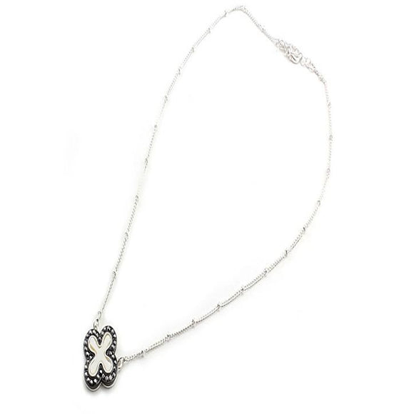 SILVER CLOVER NECKLACE SET - HEMATITE