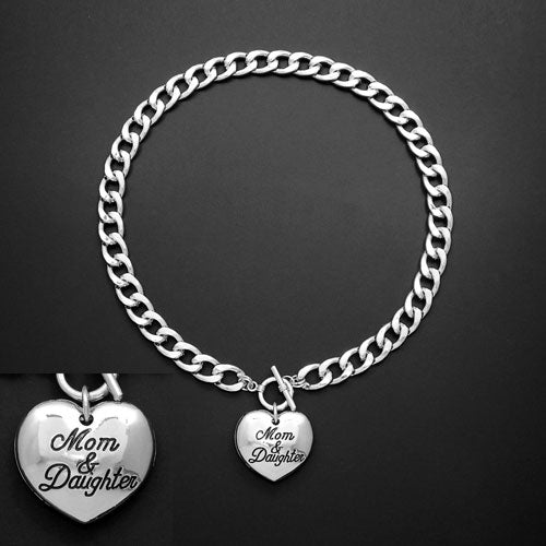Mom & Daughter necklace - silver