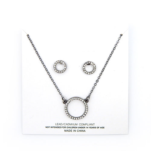 [1 DZ] round ring pendant necklace and earring set - black
