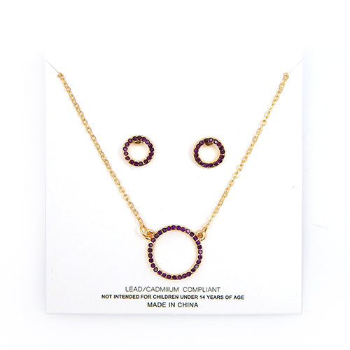 [1 DZ] round ring pendant necklace and earring set - amy