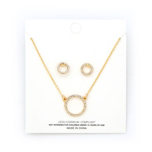 [1 DZ] round ring pendant necklace and earring set - gold