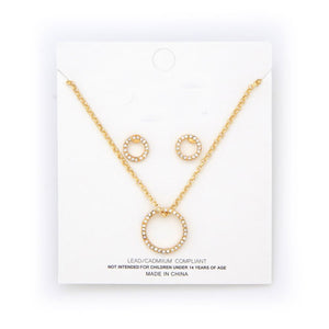 Round crystal stud necklace and earring set - gold