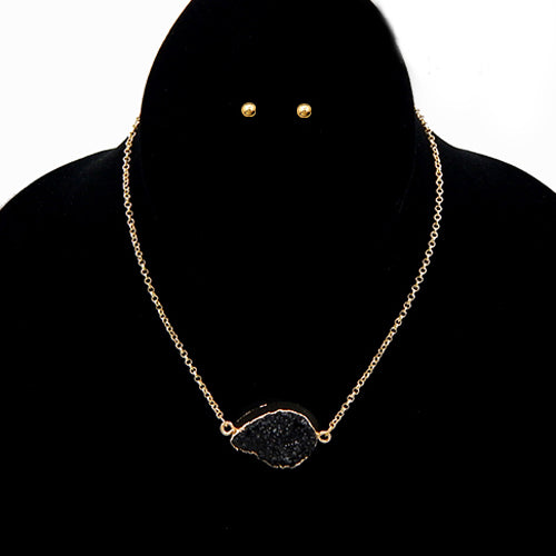 Druzy pendant necklace set - black