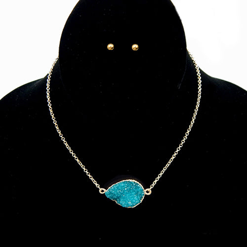 Druzy pendant necklace set - blue