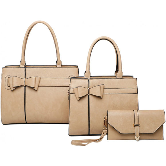 Double ribbon tote set - apricot