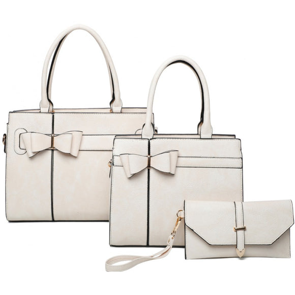 Double ribbon tote set - beige