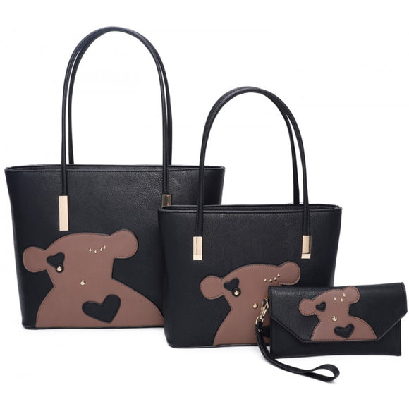 Bear double tote with clutch - black