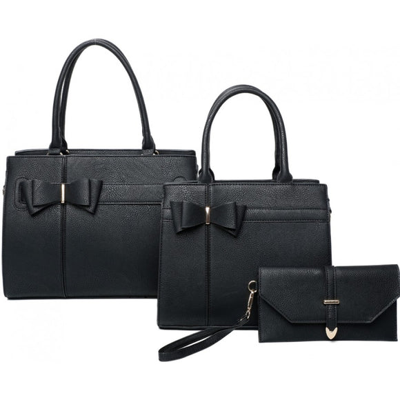 Double ribbon tote set - black
