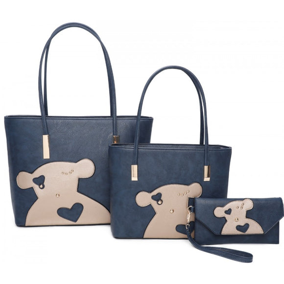 Bear double tote with clutch - blue