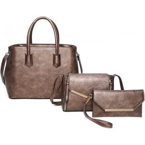 Gold tone hardware tote set - bronze