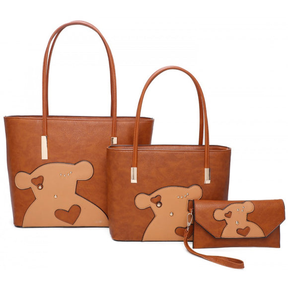Bear double tote with clutch - brown