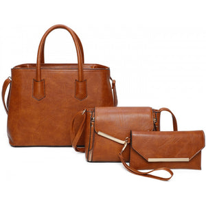 Gold tone hardware tote set - brown