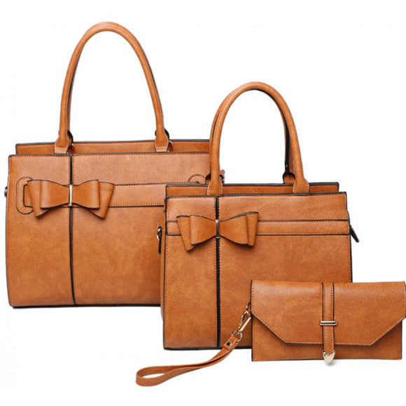 Double ribbon tote set - brown