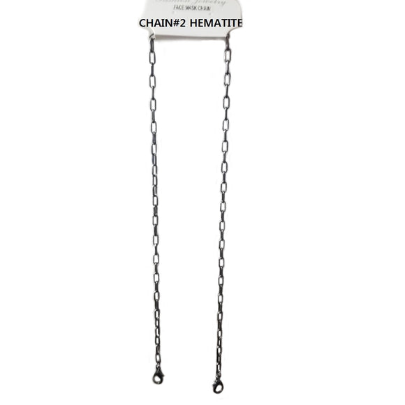 Lanyard for face mask - chain#2 Hematite