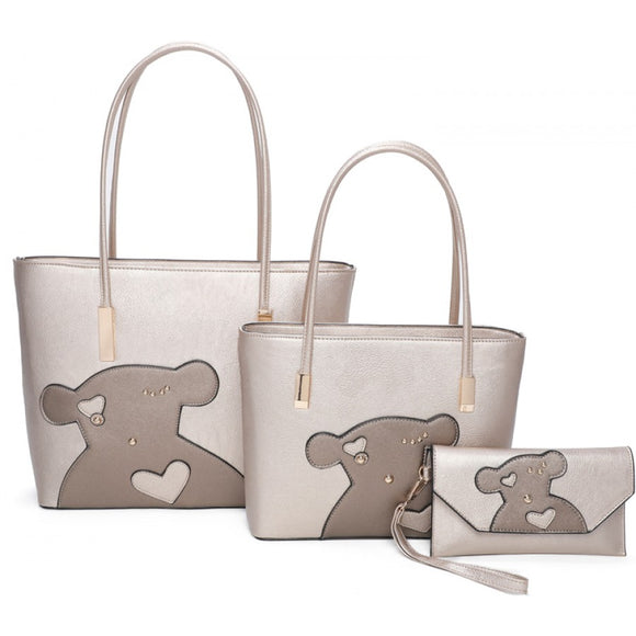 Bear double tote with clutch - champagne