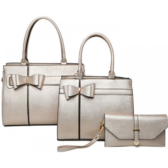 Double ribbon tote set - gold