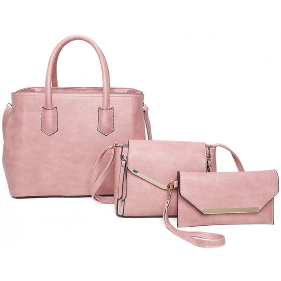 Gold tone hardware tote set - pink