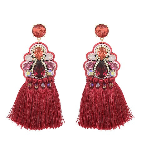 Fancy Tassel earring - red