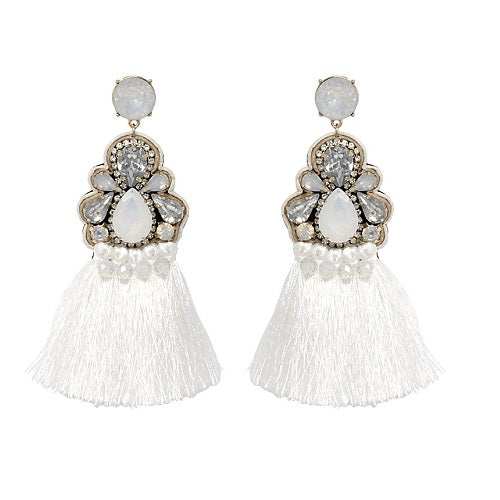 Fancy Tassel earring - white