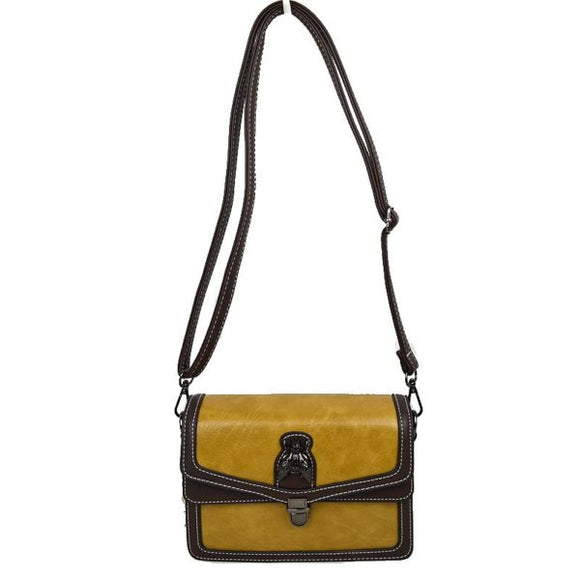 Metal Bee Decor Crossbody bag - yellow