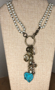 Pearl Front Toggle Necklace w/ Turquoise Drop
