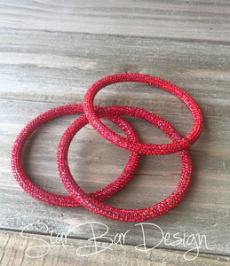 Red Crystal Bangle Set