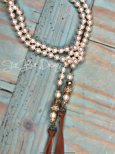 Pearl Lariat Necklace w/ Beaded/Leather Tassels