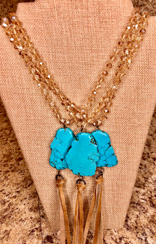 Turquoise on Light Topaz Crystal Necklace