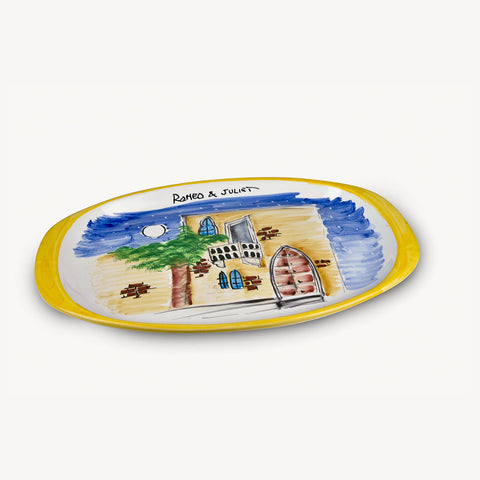MEMORITALY HANDMADE PAINTED TRAY ROMEO & JULIET AND GLASSES CITY SET (6 PCS OF GLASS)
