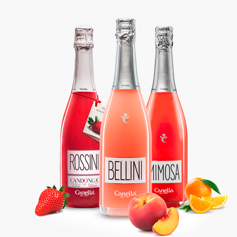 Mix Cocktail  of Venice - Bellini, Mimosa, Rossini (3 Bottles)